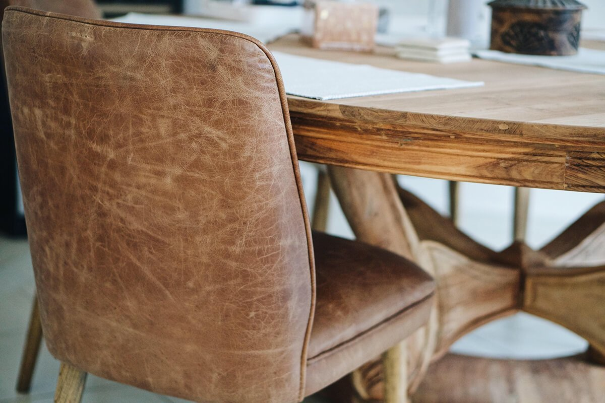 a leather dining room chair